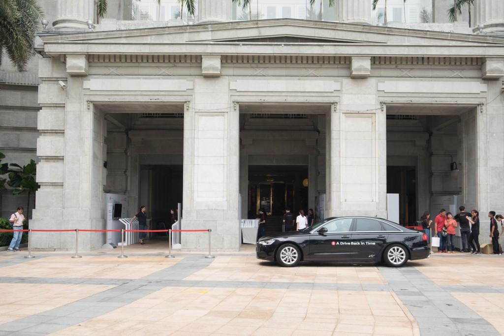One of the Audi cars in front of Fullerton Hotel