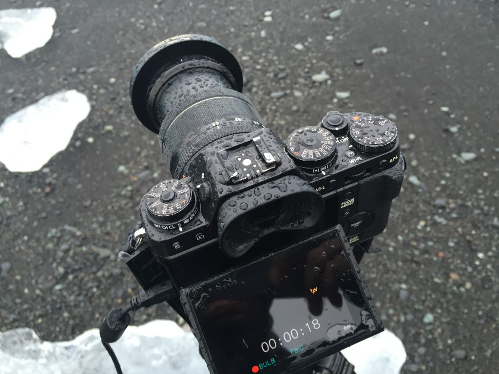 Fujifilm X-T1 covered in raindrops.