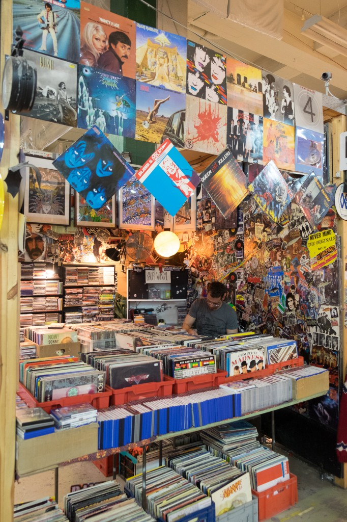 A stall selling vinyl records at the Kolaportið flea market