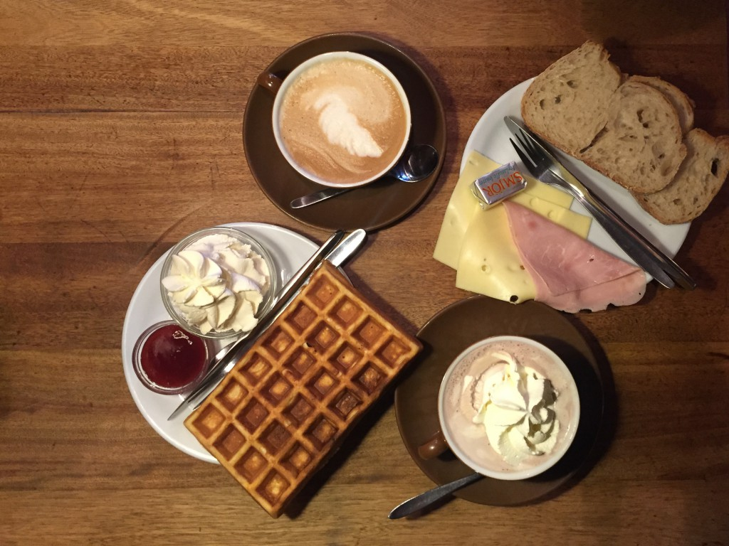 Waffles, toast and hot chocolate from Mokka Kaffi